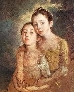 GAINSBOROUGH, Thomas The Artist s Daughters with a Cat oil painting