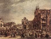GUARDI, Francesco Pope Pius VI Blessing the People on Campo Santi Giovanni e Paolo sdg oil painting