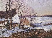George M Bruestle Barns in Winter oil painting