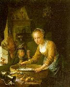 Gerrit Dou Girl Chopping Onions oil painting