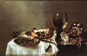 HEDA, Willem Claesz. Breakfast Table with Blackberry Pie sf oil painting