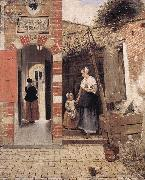 HOOCH, Pieter de The Courtyard of a House in Delft dg oil painting