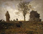 Jean-Franc Millet Autumn landscape with a flock of Turkeys oil painting