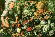 Joachim Beuckelaer Market Woman with Fruits, Vegetables and Poultry oil painting