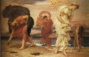 Lord Frederic Leighton Greek Girls Picking Up Pebbles by the Sea oil painting