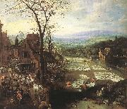 MOMPER, Joos de Flemish Market and Washing Place sg oil painting
