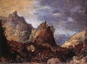 MOMPER, Joos de Mountain Scene with Bridges gs oil painting