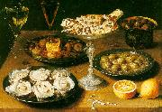 Osias Beert Still Life with Oysters and Pastries oil painting