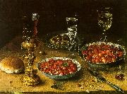 Osias Beert Still Life with Cherries Strawberries in China Bowls oil painting