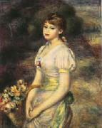 Pierre Renoir Young Girl with Flowers oil painting reproduction