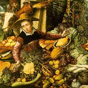 Pieter Aertsen Market Woman  with Vegetable Stall oil painting
