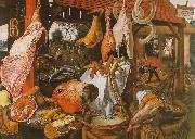 Pieter Aertsen  Butcher's Stall with the Flight into Egypt oil painting