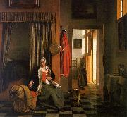 Pieter de Hooch Mother Lacing her Bodice Beside a Cradle oil painting
