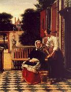 Pieter de Hooch Woman and a Maid with a Pail in a Courtyard oil painting