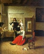 Pieter de Hooch Woman Drinking with Soldiers oil painting