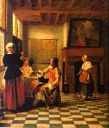 Pieter de Hooch Woman Drinking with Two Men and a Maidservant oil painting