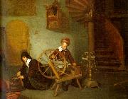 Quirijn van Brekelenkam Man Spinning and Woman Scraping Carrots oil painting