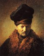 Rembrandt Bust of an Old Man in a Fur Cap oil painting