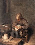 TERBORCH, Gerard Boy Ridding his Dog of Fleas sg oil painting