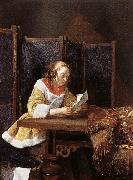 TERBORCH, Gerard A Lady Reading a Letter eart oil painting