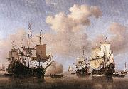 VELDE, Willem van de, the Younger Calm: Dutch Ships Coming to Anchor  wt oil painting