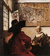 VERMEER VAN DELFT, Jan Officer with a Laughing Girl ar oil painting