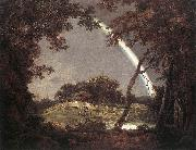 WRIGHT, Joseph Landscape with Rainbow wer oil painting