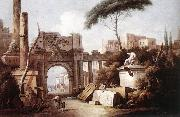 ZAIS, Giuseppe Ancient Ruins with a Great Arch and a Column oil painting