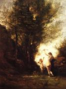 camille corot A Nymph Playing with Cupid(Salon of 1857) oil painting