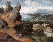 PATENIER, Joachim Landscape with the Flight into Egypt agh oil painting reproduction