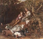POTTER, Paulus Landscape with Shepherdess Shepherd Playing Flute (detail) ad oil painting