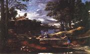 POUSSIN, Nicolas Landscape with a Man Killed by a Snake af oil painting