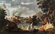 POUSSIN, Nicolas Landscape with Orpheus and Euridice sg oil painting