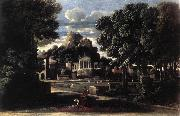 POUSSIN, Nicolas Landscape with the Gathering of the Ashes of Phocion by his Widow af oil painting