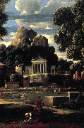 POUSSIN, Nicolas Landscape with the Gathering of the Ashes of Phocion (detail) af oil painting