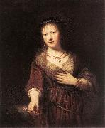 REMBRANDT Harmenszoon van Rijn Portrait of Saskia with a Flower oil painting