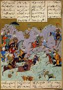 Ali She Nawat Alexander defeats Darius,an allegory of Shah Tahmasp-s defeat of the Uzbeks in 1526 oil painting