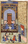 Ali She Nawat Prince Bahram-i-Gor,dressed in blue,listen to the tale of the Princess of the Blue Pavilion oil painting