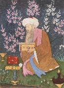 Ali of Golconda Poet in a garden oil painting
