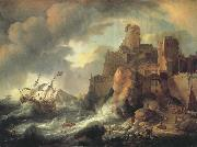 BACKHUYSEN, Ludolf Shipwreck by the Coastal Cliffs oil painting