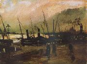 Vincent Van Gogh Quayside wtih Ships in Antwerp (nn04) oil painting reproduction