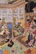 unknow artist Babur,prince of Kabul,visits his cousin prince Badi uz Zaman of Herat in 1506 oil painting reproduction