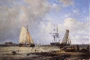 Abraham Hulk Fisherfolk and Ships by the Coast oil painting