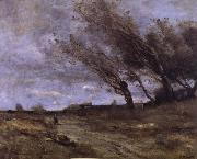 Corot Camille Rafaga of wind oil painting reproduction