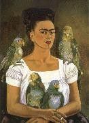 Frida Kahlo I and parrot oil painting reproduction