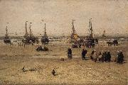 Hendrik Willem Mesdag Flat-bottomed Fishing Pinks and Fisherfolk at Scheveningen oil painting