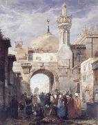 Adrien Dauzats Mosque of Al Azhar in Cairo oil painting