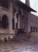 Alberto Pasini The Door of the Yeni-Djami Mosque in Constantinople oil painting