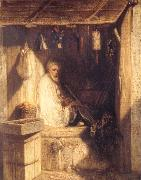 Alexandre Gabriel Decamps Tukish Merchant Smoking in his Shop oil painting