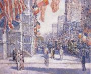 Childe Hassam Early Morning on the Avenue in May 1917 oil painting reproduction